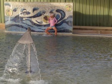 Dodging the waterfall at the Julia Creek pool.