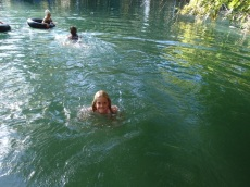 Swimming in the pretty cold waters at Adel's Grove