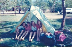 Camped down near the water. The four of us 'just' fit in that tent!
